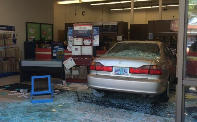 Post office damaged by car